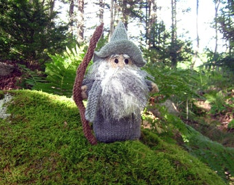 Gandalf The Grey, a hand knit wizard and friend to the races of Middle Earth, Middle Earth collection