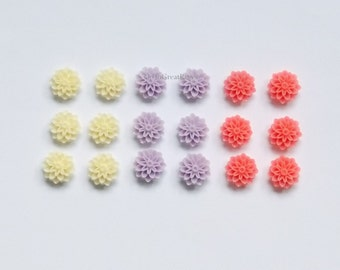 18 Cabs 15mm Pink, Purple & Off-White Pompon Mums, Resin Cabochons, Flower Cabs for Jewelry Making, Plastic Chrysanthemum Flower, 15 mm