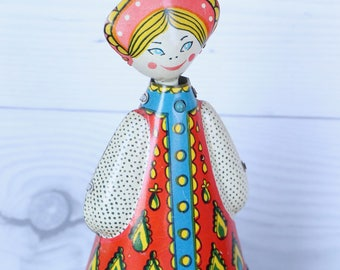 Vintage Tin Lithograph Russian Wind-up Traditional Dress Dancer Doll, Vintage Tin Litho Souvenir Doll