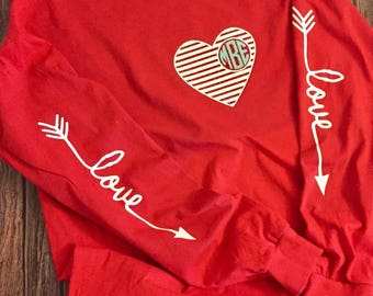 Monogram Valentine shirt // Valentine Shirt // Love Valentine Shirt // Monogram Shirt