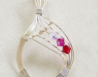 Silver Wire Wrapped Teardrop Pendant with Fuschia & Pink Crystals by Carol Wilson of Je t'adorn