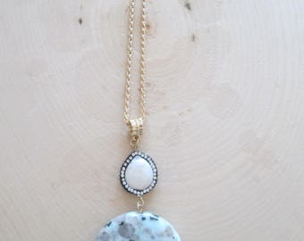 Dalmatian Stone & Mother of Pearl Necklace
