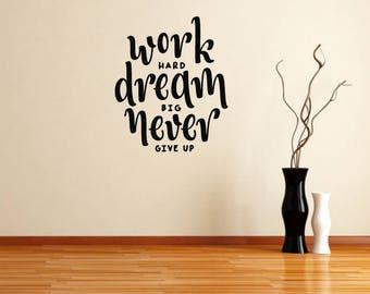Work Hard Motivational Wall Sticker Quote