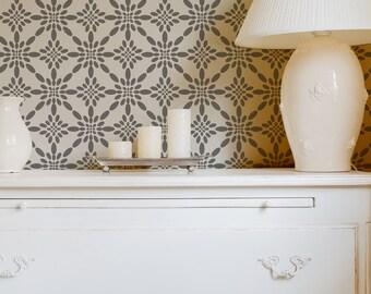 Allover Vintage Pattern Stencil Ouzoud - Reusable stencil for DIY decor walls