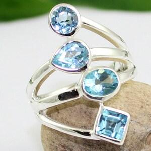 multi cut blue topaz ring, silver topaz jewelry, handmade silver ring, made in jaipur, healing topaz ring, natural gemstone,ETR1138