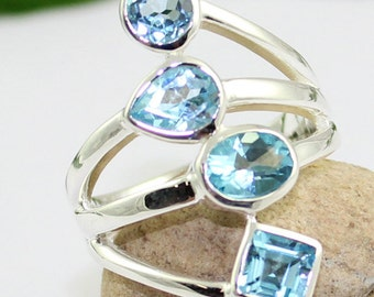 multi cut blue topaz ring, silver topaz jewelry, handmade silver ring, made in jaipur, healing topaz ring, natural gemstone,ETR1138