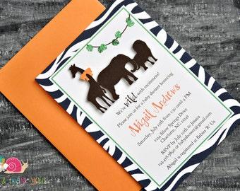 Safari Animals Invitations · A6 FLAT · Navy Blue and Orange · Animal Parade | Jungle | Birthday Party | Zebra