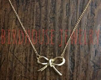 Birdhouse Jewelry - Tiny Gold Bow Necklace