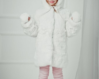 White fur coat for kids Fur jacket Long coat Winter Kids coat Baby coat Baby gift Kids clothing Girls coat Rabbit fur coat Girl's fur coat