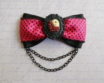 hair bow sugar skull cameo hot pink polka dot ribbon bow clip gothic lolita gothabilly punk chain
