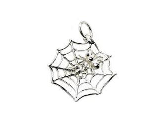 Sterling Silver Movable Spider On Spider's Web Charm For Bracelets