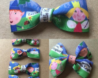 Ben and Holly's Little Kingdom hairbow ribbons-double and single!- on either metal clips or elastic hair ties