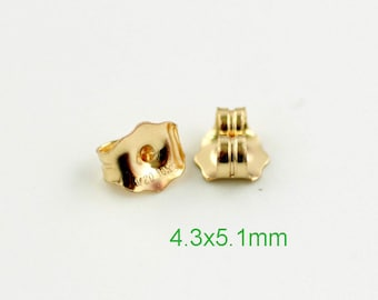 14K Gold filled Earring Back  4.3x5.1mm /10~50 prs 14K GF ear Nuts - USA made wholesale Jewelry Supply(1840)