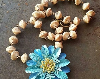 A Mixed BLUE and yellow flower Necklace  from Wendy Baker