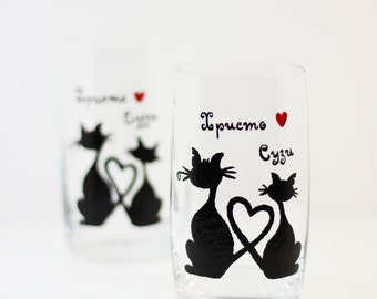 Hand Painted Everyday Glasses - Drinking Glasses, Juice Glasses, Cat Lover, Water Glasses