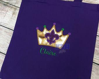 Embroidered Mardi Gras Crown Bead Bag