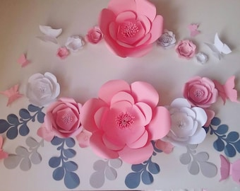 Pink White Grey Paper Flower Wall Set