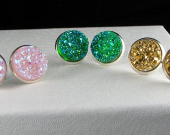 Druzy Studs, Druzy Earrings