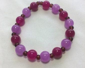 Purple & Magenta Beaded stretch Bracelet, purple bracelet, magenta bracelet, colorful, bright, bold, gift, beaded bracelet, spring