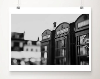 black and white photography telephone box photograph england photograph english decor cambridge photograph travel photography