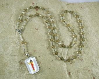 Bast (Bastet) Prayer Bead Necklace in Smoky Quartz: Egyptian Goddess of Joy, Love, Music, Dance