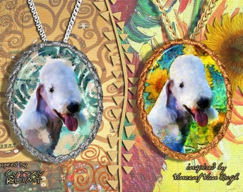 Bedlington Terrier Jewelry Pendant - Brooch Handcrafted Porcelain by Nobility Dogs - Gustav Klimt and Van Gogh