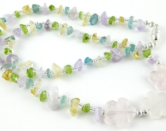 "Wildflowers pastel multicolor gemstone chip 18"" choker with a magnetic clasp"