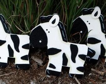 set of 3 Felted Zebra Quilt Clips