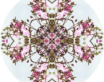 Mandala Art, Zen Art, Abstract Wall Decor, Circle Print, Meditation Art Work, Flower Nature Mandala, Pink Rose