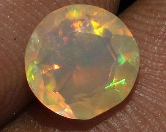 Dazzling 0.86 Cts 7x7mm Natural Ethiopian Welo Fire Opal Faceted Cut Round Chaton Gemstone Loose Gems Cut (ID OH-3305)