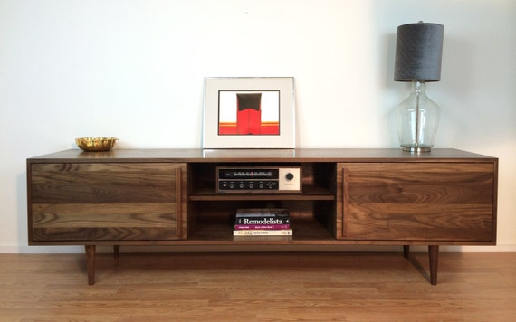 Long Low Wooden Tv Unit: Kasse Credenza / TV Stand 84 In Solid Walnut