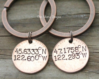 Set of Two Best Friends Lucky Penny Keychains with Latitude Longitude Coordinates for Copper Wedding Anniversary