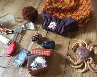 EUREKA Sacco euristico 3+ * regalo ludico educativo * MONTESSORI *  include 15 oggetti