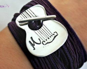 Wrap Bracelet Music Lover  Purple Guitar Bracelet Silk Wrap Bracelet Musician's Silk Wrap Bracelet Personalized Music Lover Gift