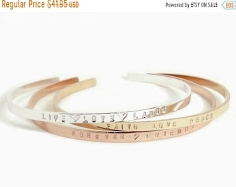 ON SALE Live Love Laugh, Sterling Message Cuff, Stamped Skinny Cuff, Dainty Stacking Bracelet, Engraved Bracelet, Inspirational Gift, Gift f