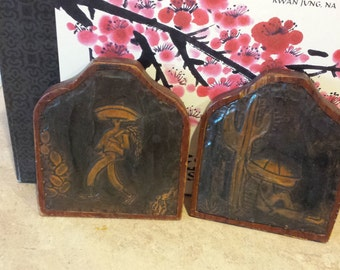 Vintage book ends wood with  pounded tin and  carved scenery on fronts  Mexico .