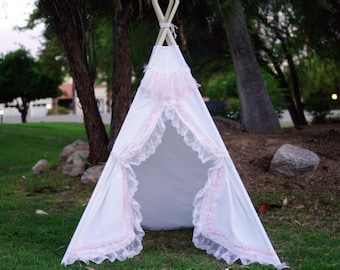 White shabby-chic lace teepee tent/ white canvas and pink lace kids Play tent/ girls canvas & lace Tipi Wigwam or Playhouse ruffle photo pro
