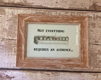 Quirky Bathroom Sign for Parents, Framed Sign (Brown). Funny Sign.