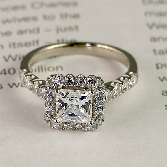 215ctw Sterling silver engagement ring Cubic zirconia Halo