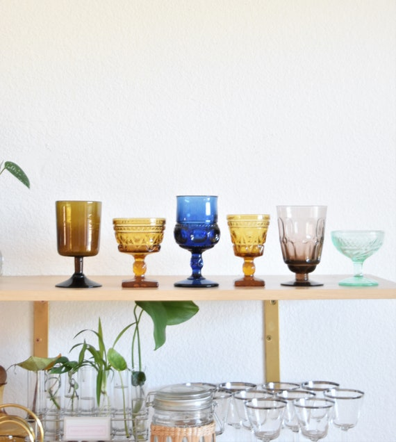 mix collection of colored glass champagne wine glass goblets / depression glass set of 6
