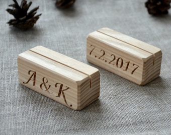 60 Personalized Wood Table Number Holders for Wedding and Party, Custom Rustic Table Number Holder, Restaurant Table Number Holder