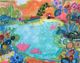 Abstract Landscape Mixed Media Painting on Paper 18 x 24 by Karen Fields