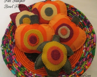FALL SAMPLER, Felt, Leaves, Pumpkins,  Bowl Fillers,  Tucks, Home Decor, Country, Cabin,  Cottage,  Holiday Décor,  Hostess Gift, Party