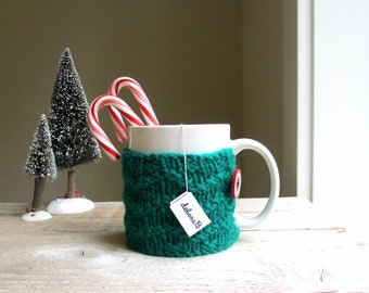 Coffee Cozy, Hand Knit Sleeve, Wool Coffee Cozy, Cup Cozy, Emerald Green, Reusable Coffee Sleeve, Gift Under 15, Stocking Stuffer, Holiday