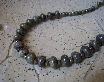 Dragon Blood Jasper and Seed Bead Necklace - Beaded Necklace - Jasper Necklace - Dragon Blood Necklace