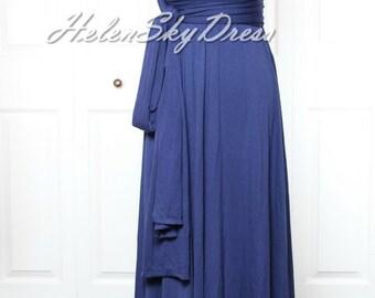 Wrap Convertible Infinity Dress Navy Blue Evening Dresses Straight Hem long Navy Bridesmaid Dress