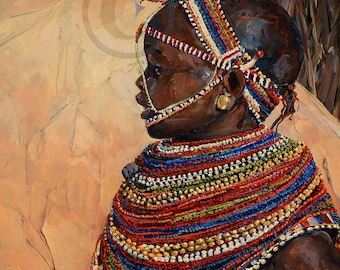 Masaai Child Oil Painting Canvas Print Native African youngster brown eyes interior design art contemporary style