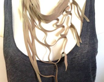 KOOL natural suede leather necklace