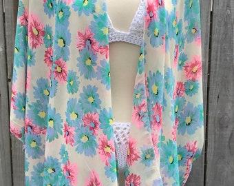 Kimono ,boho kimono , floral kimono ,paisley kimono ,white kimono ,chiffon kimono ,sheer kimono , handmade kimono ,vintage kimono ,kimonos