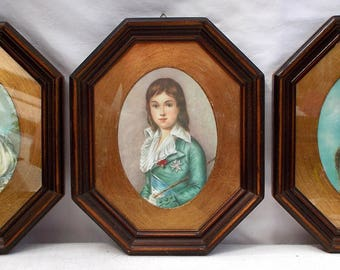 Three Lovely Vintage Framed Italian Silk Cameo Prints. Ready to hang.  (6116s)